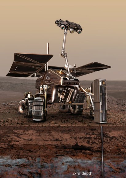 An artist's conception of the ExoMars 2018 rover on the Red Planet. Image credit: ESA