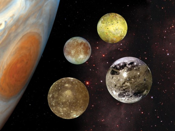 The Galilean moons to scale, with Callisto in the bottom left corner. Credit: NASA/JPL