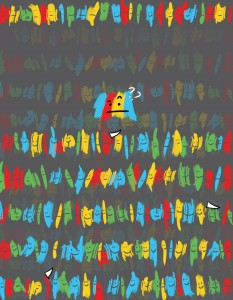 """A new UW model can help narrow down which genetic mutations affect how genes splice and contribute to disease. In this illustration, the cell's splicing machinery is trying to pick which """"cutting"""" sites (pictured as white flags) it should use. Image credit: Jennifer Sunami"""