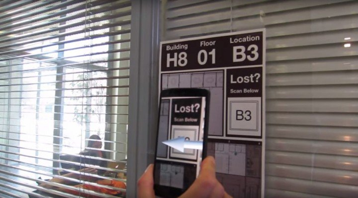 """H-Compass"" navigation with augmented reality could make complicated hospital halls a lot more manageable. Screenshot from H-Compass video by Mirana Randriambelonoro. See video below."
