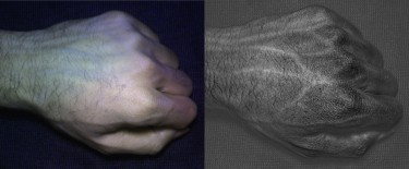 Compared to an image taken with a normal camera (left), HyperCam images (right) reveal detailed vein and skin texture patterns that are unique to each individual. Image credit: University of Washington