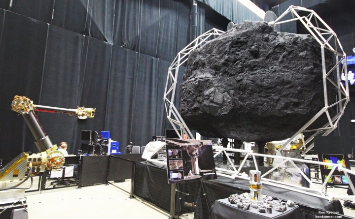 Robotic sampling arm and capture mechanism to collect a multi-ton boulder from an asteroid are under development at NASA Goddard and other agency centers for NASA's unmanned Asteroid Redirect Vehicle and eventual docking in lunar orbit with Orion crew vehicle by the mid 2020s. Credit: Ken Kremer