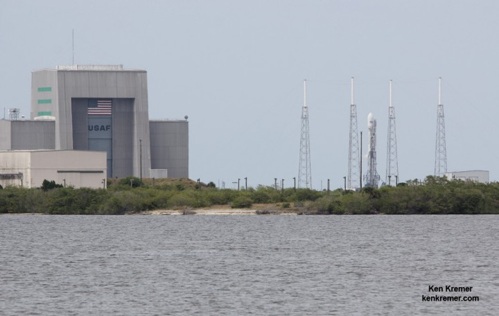 SpaceX 'Return to Flight' launch upcoming in December 2015 features 11 ORBCOMM satellites. SpaceX Falcon 9 rocket on Pad 40 at Cape Canaveral, FL, prior to launch on July 14, 2014 on prior ORBCOMM OG2 mission with six OG2 satellites. The USAF has certified the Falcon 9 to compete for US national security launches. Credit: Ken Kremer