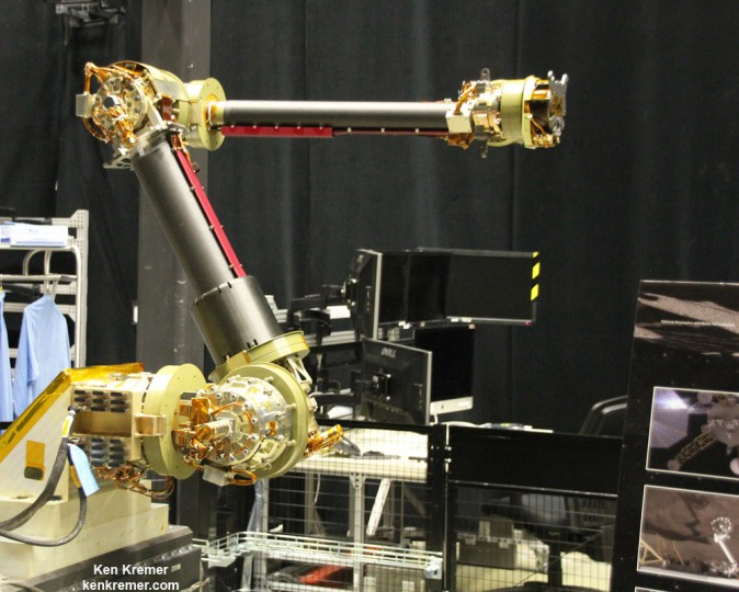 This engineering design unit of the robotic servicing arm is under development to autonomously extract a boulder off an asteroid for NASA's asteroid retrieval mission and is being tested at NASA Goddard. It has seven degrees of freedom and mimics a human arm. Credit: Ken Kremer