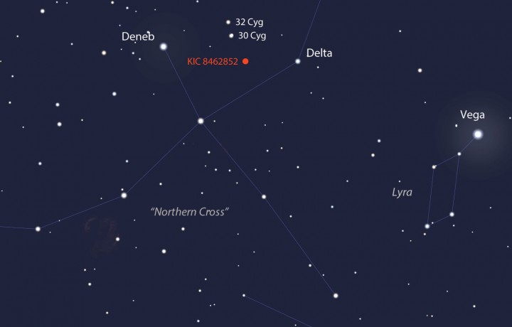 Our featured star shines at magnitude +11.7 in the constellation Cygnus the Swan (Northern Cross) high in the southern sky at nightfall this month. A 6-inch or larger telescope will easily show it. Use this map to get oriented and the map below to get there. Source: Stellarium
