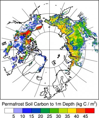 The new approach includes data from recently compiled soil carbon maps of permafrost in Alaska, Canada, and Russia. Image credit: Berkeley Lab