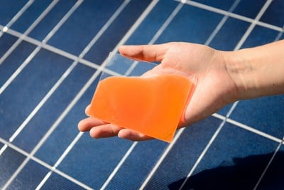 A gel developed by chemistry professor Challa Kumar that enhances the ability of solar cells to absorb energy from sunlight and could double the efficiency of existing solar cell panels. Photo credit: Peter Morenus / UConn Photo