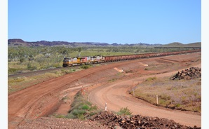 Iron ore being transported by rail in the Pilbara.