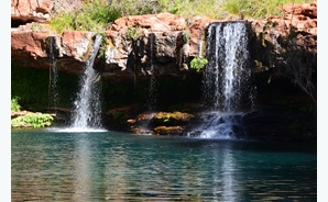 Water discharging from fractured rock into a gorge in the Hamersley Range.
