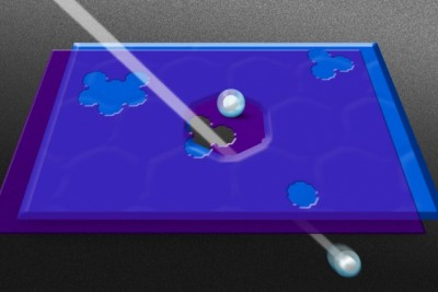 Researchers created pores in a graphene sheet (in purple) and then placed it over a layer of silicon nitride (in blue) that had been punctured by an ion beam. This allows specific hydrated ions, which are surrounded by a shell of water molecules, to pass through. Image credit: Jose-Luis Olivares/MIT