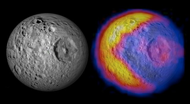This figure illustrates the unexpected and bizarre pattern of daytime temperatures found on Saturn's small inner moon Mimas. Credit: NASA/JPL/GSFC/SWRI/SSI