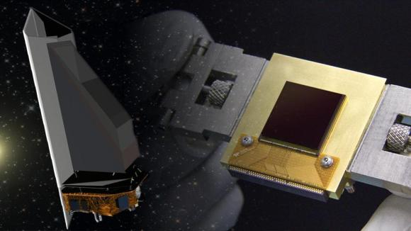 The NEOCam sensor (right) is the lynchpin for the proposed Near Earth Object Camera, or NEOCam, space mission (left). Credit: NASA/JPL-Caltech