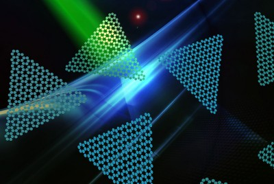 Two dimensional nano-flakes emit red photons for quantum communication technologies. Image supplied by the research team