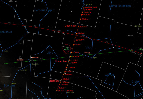 The celestial path of Comet US 10 Catalina through the end of 2015. Image Credit: Starry Night Education software