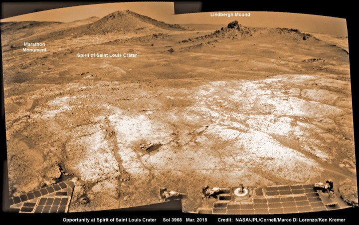 Opportunity's view (annotated) on the day the NASA rover exceeded the distance of a marathon on the surface of Mars on March 24, 2015, Sol 3968 with features named in honor of Charles Lindbergh's historic solo flight across the Atlantic Ocean in 1927. Rover stands at Spirit of Saint Louis Crater near mountaintop at Marathon Valley overlook and Martian cliffs at Endeavour crater holding deposits of water altered clay minerals. This navcam camera photo mosaic was assembled from images taken on Sol 3968 (March 24, 2015) and colorized. Credit: NASA/JPL/Cornell/Marco Di Lorenzo/Ken Kremer