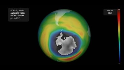 Ozone hole in early October, 2015. Image credit: DLR