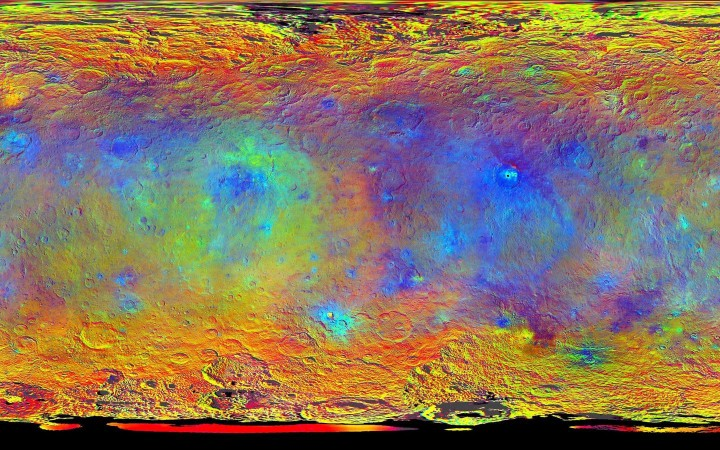 This map-projected view of Ceres was created from images taken by NASA's Dawn spacecraft during its high-altitude mapping orbit, in August and September, 2015. This color coded map can provide valuable insights into the mineral composition of the surface, as well as the relative ages of surface features. Credits: NASA/JPL-Caltech/UCLA/MPS/DLR/IDA