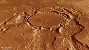 The images were taken by the high-resolution stereo camera on ESA's Mars Express on 12 July just to the south of the mouth of Minio Vallis. The region is part of the Mangala Valles outflow channel system, and is situated in the southwestern portion of the Tharsis bulge, home to several volcanoes, including the Solar System's largest: Olympus Mons. The region's proximity to these volcanic giants likely played an important role in creating the channels seen in these images, which were carved by large volumes of flowing water. The source of the water is believed to be related to the formation of the Mangala Fossae, an east–west fault system spanning several hundreds of kilometres to the south of the region seen here. There, hot, molten rock could have reached the surface in an episode of increased volcanic activity during the formation of the Tharsis bulge.