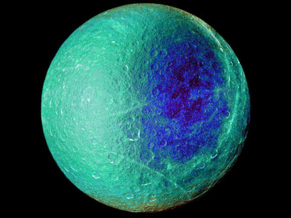 Hemispheric color differences on Saturn's moon Rhea are apparent in this false-color view of the anti-Cronian side, from NASA's Cassini spacecraft. Image Credit: NASA/JPL/SSI