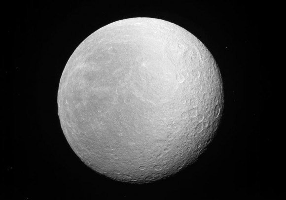 Saturn's second-largest moon Rhea, pictured by the Cassini probe on March 29, 2012. Credit: NASA/JPL