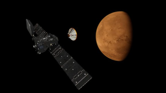 An artist's concept of the Schiaparelli EDM Lander separating from the ExoMars Trace Gas Orbiter en route to the Red Planet. Image Credit: ESA
