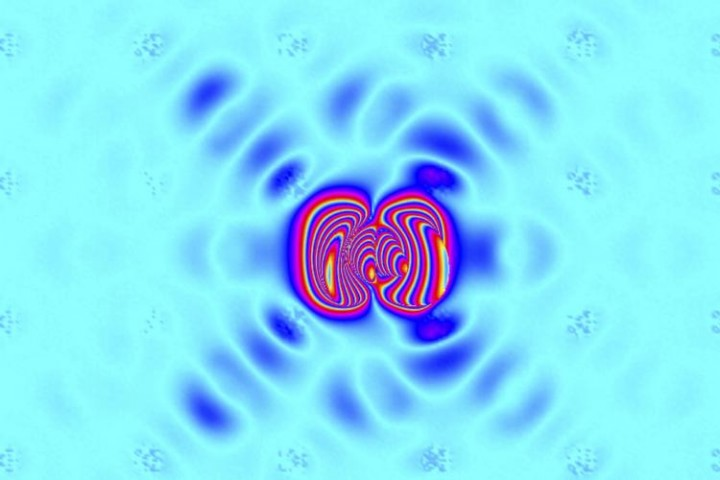Redistribution of electronic clouds causes a lattice instability and freezes the flow of heat in highly efficient tin selenide. The crystal lattice adopts a distorted state in which the chemical bonds are stretched into an accordion-like configuration, and makes an excellent thermoelectric because heat propagation is thwarted. Image credit: Oak Ridge National Laboratory, U.S. Dept. of Energy