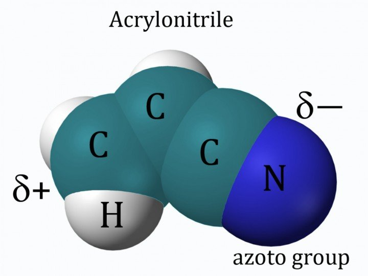 Acrylonitrile has been identified as a possible basis for cell membranes in liquid methane on Titan. It is known to be present in Titan's atmosphere at a concentration of 10 parts per million and has been produced in laboratory simulations of the effects of energy sources on Titan's nitrogen-methane atmosphere. As a small polar molecule capable of dissolving in liquid methane, it is a candidate substance for the formation of cell membranes in an alternative biochemistry on Titan. Light blue: carbon atoms, dark blue: nitrogen atom, white: hydrogen atoms. Credit: Ben Mills as modified by Paul Patton.