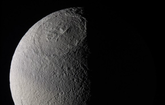 """The Odysseus Crater, the 400 km surface feature that gives Tethys it's """"Death Star"""" appearance. Credit: NASA/JPL/SSI"""
