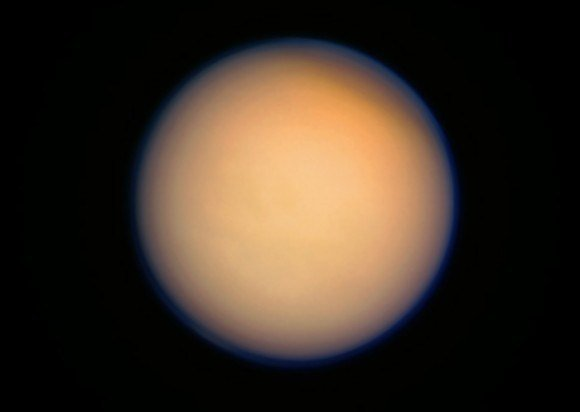 Color-composite of Titan made from raw Cassini images acquired on April 13, 2013. Credit: NASA/JPL/SSI. Composite by J. Major.