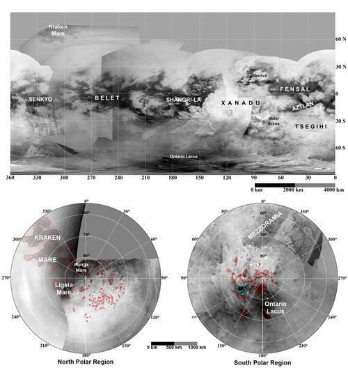 Updated maps of Titan, based on the Cassini imaging science subsystem. Credit: NASA/JPL/Space Science Institute