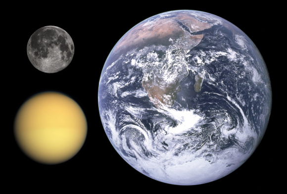Diameter comparison of Titan, the Moon, and Earth. Credit: NASA/JPL/Space Science Institute/Gregory H. Revera