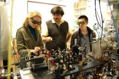 Graduate students Airlia Shaffer, Yogesh Patil and Harry Cheung work in the Ultracold Lab of Mukund Vengalattore, assistant professor of physics. Photo credit: Cornell University