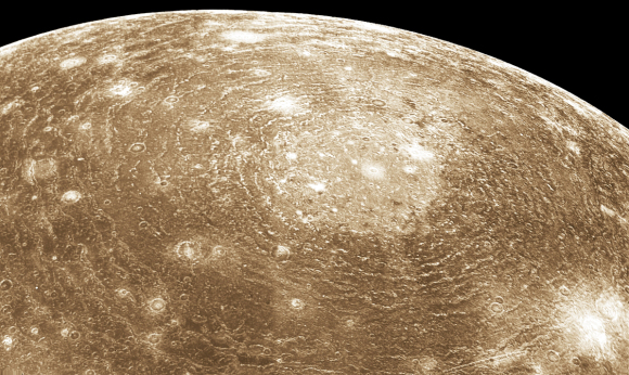 Voyager 1 image of Valhalla, a multi-ring impact structure 3800 km in diameter. Credit: NASA/JPL