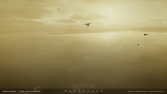 Artist's impression of future colonists flying over Ligeia Mare on Titan. Credit: Erik Wernquist/erikwernquist.com