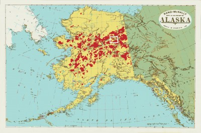 Researchers studied fire activity in a 2,000-square kilometer region of the Yukon Flats in Alaska. The study area lies within the white rectangle on the map. Zones burned in Alaska since 1950 are in red.