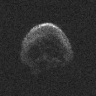 This image of asteroid 2015 TB145, a dead comet, was generated using radar data collected by the National Science Foundation's 1,000-foot (305-meter) Arecibo Observatory in Puerto Rico. The radar image was taken on Oct. 30, 2015, and the image resolution is 25 feet (7.5 meters) per pixel. Credits: NAIC-Arecibo/NSF
