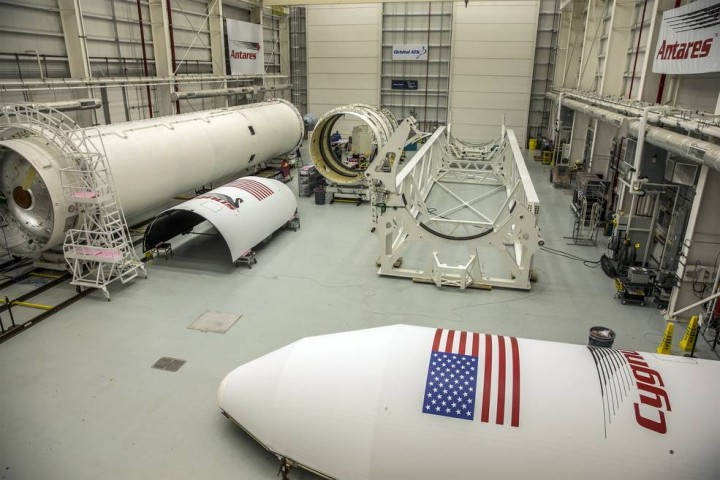 Orbital ATK's Antares program remains on schedule to commence flight operations from Wallops in the first half of 2016. The Antares is undergoing integration, with two new RD-181 engines fully installed into the first stage of the rocket. The program is working toward a full-power engine test on the launch pad early next year. Credits: NASA/Patrick Black