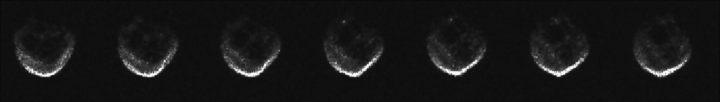 These first radar images from the National Science Foundation's 1,000-foot (305-meter) Arecibo Observatory in Puerto Rico, indicate the near-Earth object is spherical in shape and approximately 2,000 feet (600 meters) in diameter. The radar images were taken on Oct. 30, 2015, and the image resolution is 25 feet (7.5 meters) per pixel. Credits: NAIC-Arecibo/NSF