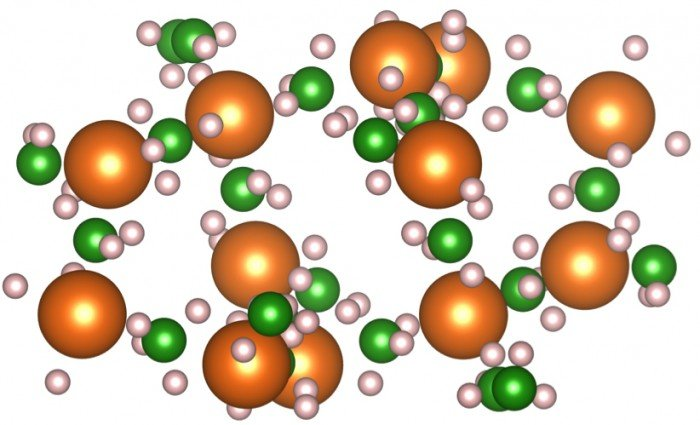 This atomistic model shows two of the materials - magnesium tetrahydroborate Mg(BH4)2 and lithium imide Li2NH - that Lawrence Livermore researchers are studying for hydrogen storage systems