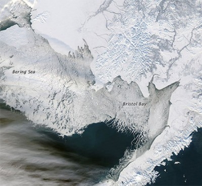 A NASA satellite image from January 2012 shows heavy sea ice conditions in Bristol Bay and the Bering Sea, off the western coast of Alaska. Image credit: NASA Earth Observatory, courtesy Jeff Schmaltz, LANCE/EOSDIS MODIS Rapid Response Team at NASA GSFC.