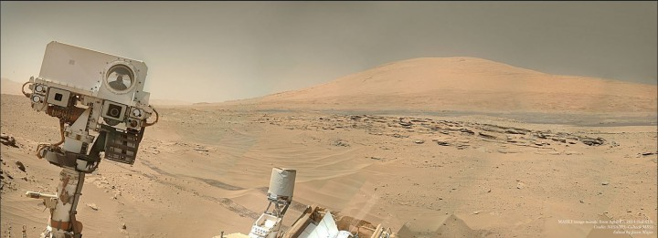 "A mosaic of images from NASA's Curiosity rover shows what appears to be a ""selfie"" with a Martian mountain (Aeolis Mons)in the background. Credit: NASA/JPL-Caltech /MSS/ Image editing by Jason Major."