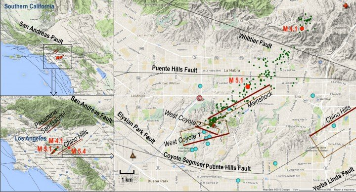 Setting of the La Habra quake. Red dots show the magnitude 5.1 main shock, magnitude 4.1 aftershock and magnitude 5.4 Chino quake in 2008. Relocated aftershocks are green dots. Modeled faults are in brown, with the heavier reddish brown line denoting the bottom of the fault and labeled with italics.Credit: NASA/JPL-Caltech