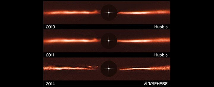 Using images from ESO's Very Large Telescope and the NASA/ESA Hubble Space Telescope, astronomers have discovered never-before-seen structures within a dusty disc surrounding a nearby star. The fast-moving wave-like features in the disc of the star AU Microscopii are unlike anything ever observed, or even predicted, before now. The origin and nature of these features present a new mystery for astronomers to explore. The results are published in the journal Nature on 8 October 2015.
