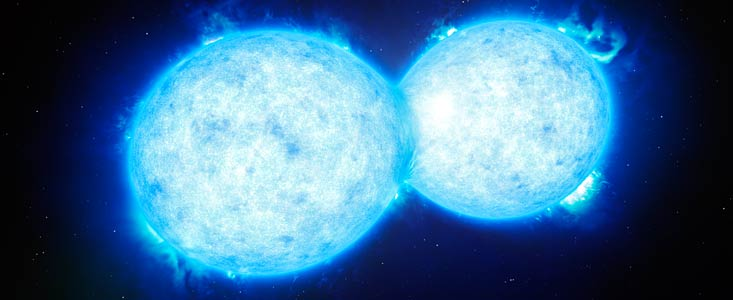 Using ESO's Very Large Telescope, an international team of astronomers have found the hottest and most massive double star with components so close that they touch each other. The two stars in the extreme system VFTS 352 could be heading for a dramatic end, during which the two stars either coalesce to create a single giant star, or form a binary black hole.
