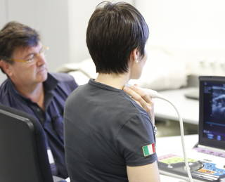 Training of Samantha Cristoforetti with high resolution vascular ultrasound images directed by PI Paolo Zamboni, MD. This system, synchronized with ECG, was used in flight to implement the plethysmography data. Credits: Paolo Zamboni, MD