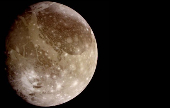 Ganymede is the largest satellite in our solar system, larger than Mercury and Pluto, and three-quarters the size of Mars. Credit: NASA/JPL