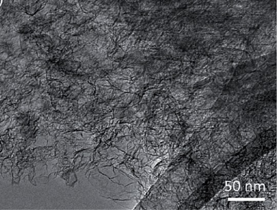 A transmission electron microscope image shows the details of graphene aerogel, which is one of the materials the LLNL group will investigate for hydrogen storage. Image by Ted Baumann/LLNL