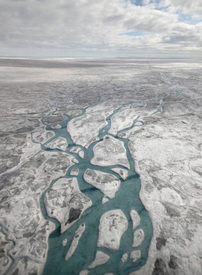 Meltwater streams and rivers flow on the surface of the western area of the Greenland Ice Sheet. Credits: Andrew Sole, University of Sheffield