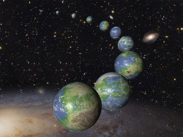 An artist's impression of the innumerable Earth-like planets that have yet to be born over the next trillion years in the evolving universe. Credit: NASA / ESA / G. Bacon (STScI)
