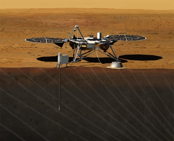 Artist rendition of NASA's Mars InSight (Interior exploration using Seismic Investigations, Geodesy and Heat Transport) Lander, which was selected as part of the Discovery Programs 2010 call for submissions and will be launched by 2016. Credit: JPL/NASA